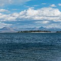 Close-up of Stevenson Island and the Absaroka Range over Yellowstone Lake.- Gull Point on Yellowstone Lake