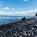 Close-up of the beach composition.- Gull Point on Yellowstone Lake