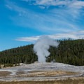 Old Faithful getting ready to erupt.- Old Faithful