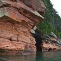 View of the shoreline along the Apostle Island National Lakeshore.- Mainland Sea Caves from Meyers Beach