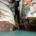 Paddling into the crevasse.- Mainland Sea Caves from Meyers Beach
