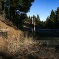 Stough Reservoir Campground is marked by a small sign along highway 299.- Stough Reservoir