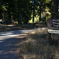 Entrance to the campground lies down a gravel road.- Stough Reservoir