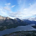 Waterton Park townsite nestled along the lake.- Bear's Hump