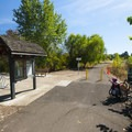 Trailhead and parking area off of Denney Road.- Greenway Park + Fanno Creek Trail