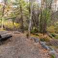 A bench for rest and relaxation adjacent to the creek.- Headwaters Trail + PCT bridge