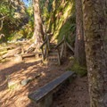 A bench below the stairs provides a resting spot.- Ceremonial Rock