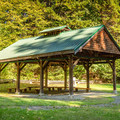 A picnic shelter near the Sitting Lady Falls viewpoint.- Witty's Lagoon