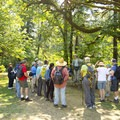 The group gathering to go on a guided hike to Cascadia Cave.- Cascadia Cave