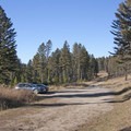 Trailhead parking.- Baldy Basin Saddle via West Baldy Basin