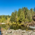 Swimming hole on the Sooke River.- Spring Salmon Place Campground