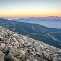 Descending the rocky slopes of Jeff Davis during sunest.- Wheeler Peak