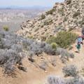Hikers along the Ryan Mountain Trail.- Ryan Mountain Hike