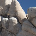 "Climber at the ""Double Cross"" anchor.- Old Woman Rock - Climbing Crag"