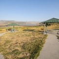 Picnic shelters at Pinery Campground and Day Use Area.- Pinery Campground + Day Use Area