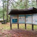 Information signs near the entrance of Cascadia State Park.- Cascadia State Park