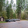 Day use parking area and restrooms at Cascadia State Park.- Cascadia State Park