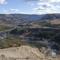 The mighty Yellowstone River roars in the canyon below.- Yellowstone River Picnic Trail