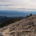 Looking toward the valley from the summit of San Gorgonio.- San Gorgonio Mountain via Vivian Creek