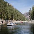 Working through a clam stretch on the Salmon River.- Main Salmon River: Corn Creek to Carey Creek