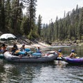 Keeping the duckies in a row with a little advice about the upcoming rapid.- Main Salmon River: Corn Creek to Carey Creek