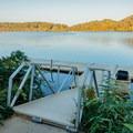 Dock down at the reservoir.- Morgan Falls Overlook Park