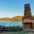 Old chimney from a 19th-century house.- Morgan Falls Overlook Park