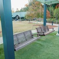 Park benches and other amenities.- Morgan Falls Overlook Park
