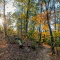 The trail is two-thirds of a mile and connects back to the parking lot.- Morgan Falls Overlook Park