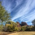 View of Cathedral Rock from a picnic area.- Crescent Moon Ranch