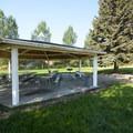 Picnic shelter at Riverside/Old Church Campground.- Riverside/Old Church Campground