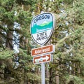 Sign along Highway 36 for Alderwood State Wayside.- Alderwood State Wayside