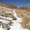 Views of Notch Mountain's notch from the trail.- Notch Mountain
