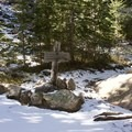 Trail junction taking a right off of Fall Creek to continue up Notch Mountain.- Notch Mountain