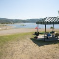 One of 40 picnic cabanas at Jordanelle State Park.- Jordanelle Swim Beach