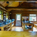 Inside the dining hall.- Lake Magog, Marvel Pass + Owl Lake Loop