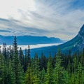 Looking back toward Bow Valley.- Devil's Thumb