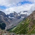 The many glaciers that feed Lake Louise.- Devils Thumb