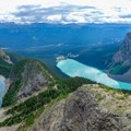 View from Devils Thumb of Lake Agnes (left) and Lake Louise (right).- Devils Thumb