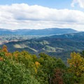 Panorama of the Smoky Mountains, looking out over Happy Valley and past Cades Cove to Gregory Bald.- Look Rock