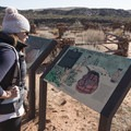 Interpretive signs offer information about the native cultures.- Anasazi Trail to Red Reef East Loop