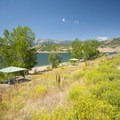 Picnic shelters at Rainbow Bay Day Use Area, Deer Creek State Park.- Rainbow Bay Day Use Area + Zipline Utah