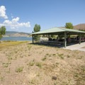 Main picnic shelter at Rainbow Bay Day Use Area, Deer Creek State Park.- Rainbow Bay Day Use Area + Zipline Utah