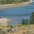 Paddlers and swimmers at Rainbow Bay Day Use Area, Deer Creek State Park.- Rainbow Bay Day Use Area + Zipline Utah