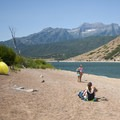 Mount Timpanogos (11,752 ft), Deer Creek Reservoir and Sailboat Beach, Deer Creek State Park.- Sailboat Beach + Day Use Area