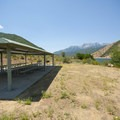 Large group picnic shelter at Sailboat Beach, Deer Creek State Park.- Sailboat Beach + Day Use Area