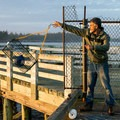 Tossing the trap.- Winchester Bay Crabbing