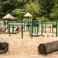 The playground near the welcome center.- Honeyman State Park Campground