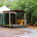 Yurts are a popular option.- Honeyman State Park Campground