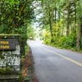 Honeyman State Park entrance.- Honeyman State Park Campground